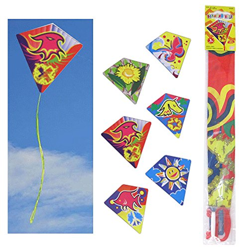 6 Pc Diamond Kite Easy Flyer Fun Kids Breeze Beach Outdoor Games Toys 24'' x 26'' by ATB