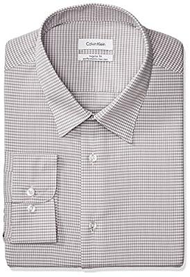 Calvin Klein Men's Non Iron Regular Fit Mini Check Point Collar Dress Shirt