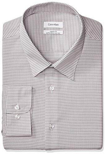 Mini Point Collar Dress Shirt (Calvin Klein Men's Non Iron Regular Fit Mini Check Point Collar Dress Shirt, Gray Pearl, 17.5