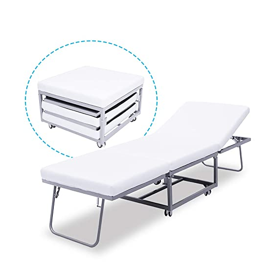 Triple Ottoman Folding Bed with Rollways – Guest Bed Foam Mattress Suede Cover Denmark Design