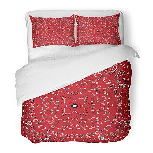 Emvency Bedding Duvet Cover Set King (1 Duvet Cover + 2 Pillowcase) Colorful Abstract Red Bandana Artistic Black Border Bright Classic Elegant Floral Hotel Quality Wrinkle and Stain - Set Comforter Celebrity