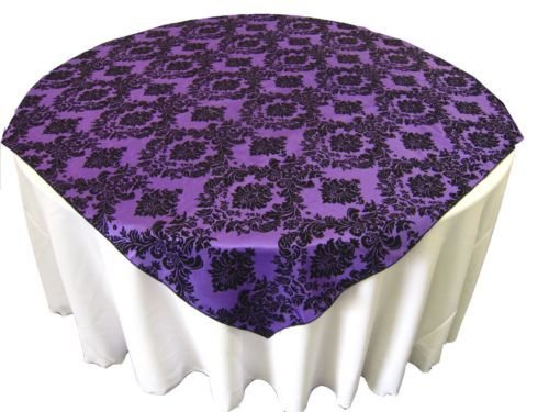 Damask Overlays (lovemyfabric Flocking Damask On Taffeta Tablecloth/Overlay For Wedding, Bridal Shower/Baby Shower, Dinner and Special Events (56