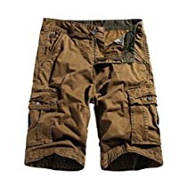 WenVen Mens Cargo Shorts Loose Fit Cotton Twill Summer Pants
