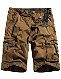 WenVen Men's Fashion Pockets Cargo Shorts Loose Fit Cotton Twill Shorts(Coffee,40)