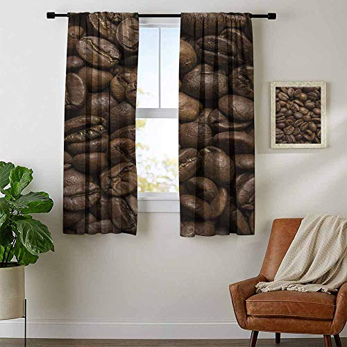 Coffee, Sound Curtains Noise Reducing, Flavored Roasted Arabica Beans Ready for Brew Fresh Drink of Mocha for Robust Breakfast, Curtains Nursery, W72 x L45 Inch Brown ()