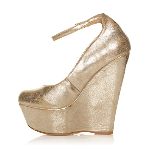 ALTO 3 8 ANKLE LADIES TAMAÑO MUJERES HEEL MUY De ZAPATOS Jsha STRAP WEDGES FEDION Oro MUJER PLATAFORMA Eq0wnUOR7
