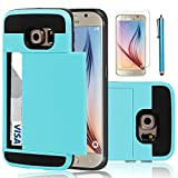 (US) Galaxy S6 Case, EC™ Samsung Galaxy S6 Wallet Case, Hybrid High Impact Resistant Protective Shockproof Hard Shell with Card Holder Slot Cover for Samsung S6 (Light Blue)