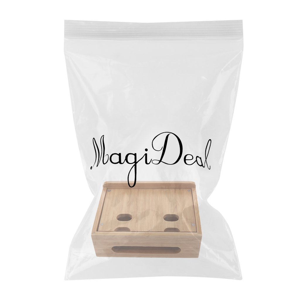 MagiDeal Cord Organizer, 4 Slots Bamboo Stand Multi-device Desktop Cords Organizer Dock Charging Station Holder with Built-in Insert Slots for Smartphones, Tablets and Laptops by MagiDeal (Image #3)