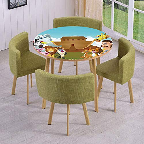 iPrint Round Table/Wall/Floor Decal Strikers,Removable,The Ark Illustration Before Journey All Animals Myth Faith Grace Old Stories,for Living Room,Kitchens,Office Decoration for $<!--$17.99-->