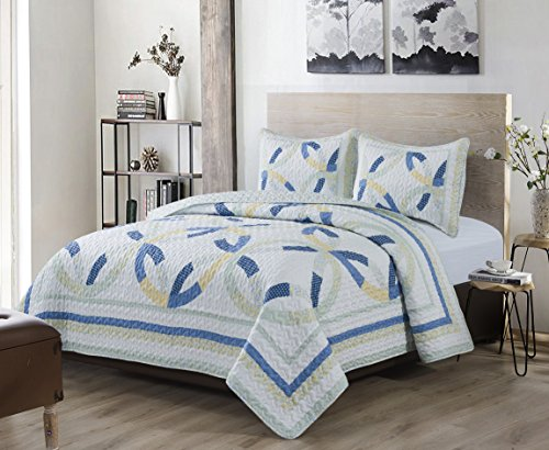 (South Bay Wedding Ring Quilt Set, King, Blue/Cream Yellow/Light Sage)