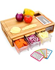 BRITORBambooCuttingBoardwith4Containers,LargeChoppingBoardwithJuiceGrooves,Easy-GripHandles&FoodSlidingOpening,CarvingBoardwithTraysforFoodStorage,TransportandCleanup