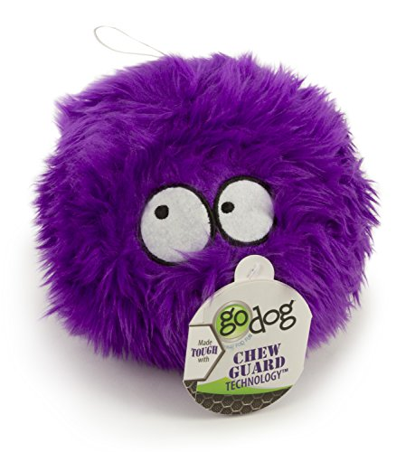 goDog Furballz Tough Plush Dog Toy with Chew Guard Technology, Purple, Large