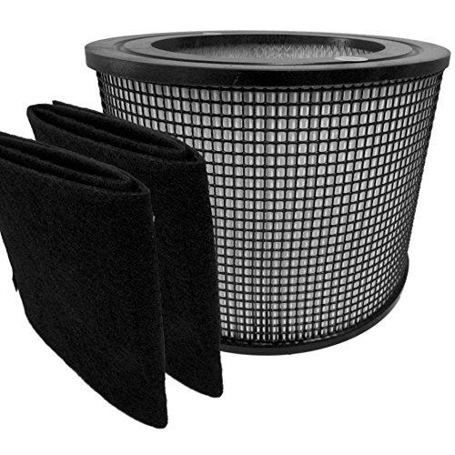 Premium Hepa Plus Filter + 2 Carbon Prefilter Wraps for Filter Queen Defender Air Purifier 4000 360 by Saras Vac Shack