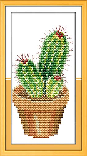 Cross Stitch Stamped Kits Quilt Pre-Printed Cross-Stitching Patterns for Beginner Kids Adults, Embroidery Crafts Needlepoint Starter Kits The Cactus Pattern for Home Wall Decorations