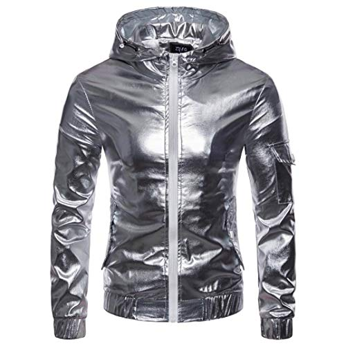 Jacket Shift Leather (iLH Men's Luxury PU Leather Jacket Autumn Casual Hip Hop Tops Solid Long Sleeve Hooded Coat Sweatshirt(Silver,M))