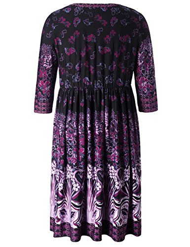 Dress Women's Chicwe Length V Violet and Dress Knee Printed Plus Floral Work Neck Casual Size fxnOpwqx4