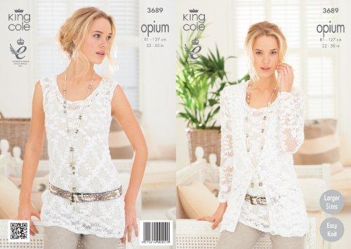 - King Cole Womens Knitting Pattern Ladies Opium Easy Knit Cardigan & Vest 3689