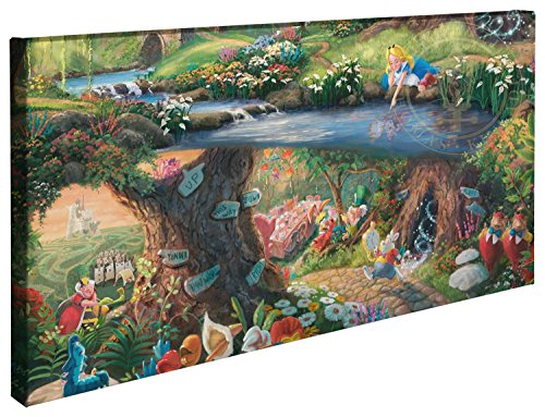 Thomas Kinkade Disney Alice in Wonderland 16 x 31 Gallery Wrapped Canvas -