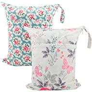 ALVABABY 2pcs Cloth Diaper Wet/Dry Bags|Waterproof Reusable with Two Zippered Pockets|Travel, Beach, Pool, Daycare, Soiled Baby Items,Yoga,Gym Bag for Swimsuits or Wet Clothes L5166