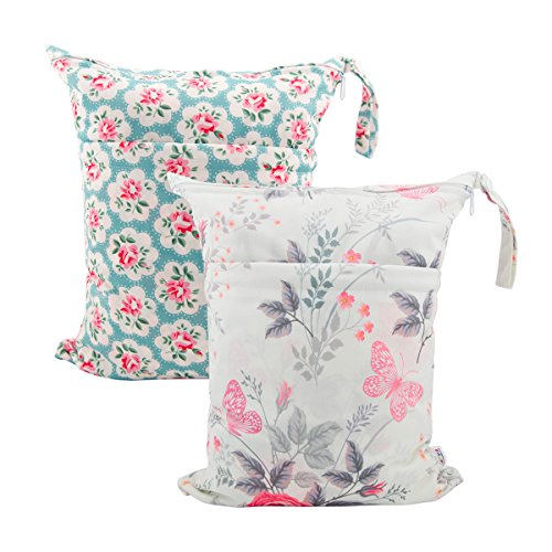 ALVABABY 2pcs Cloth Diaper Wet/Dry Bags |Waterproof Reusable