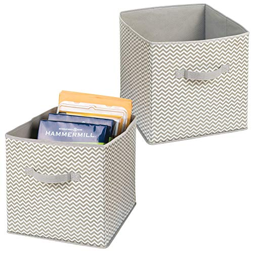 e Storage Organizer Cube for Paper, Notebooks, Label Boxes - Pack of 2, Taupe/Natural ()