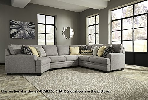 Signature Design Cresson Pewter LAF Sectional w/ Cuddler by Ashley