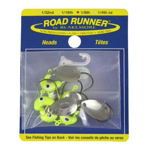 Blakemore TTI Fishing Co Road Runner Bulk Head Hook (Chartreuse, (0.125 Ounce Jig Head)