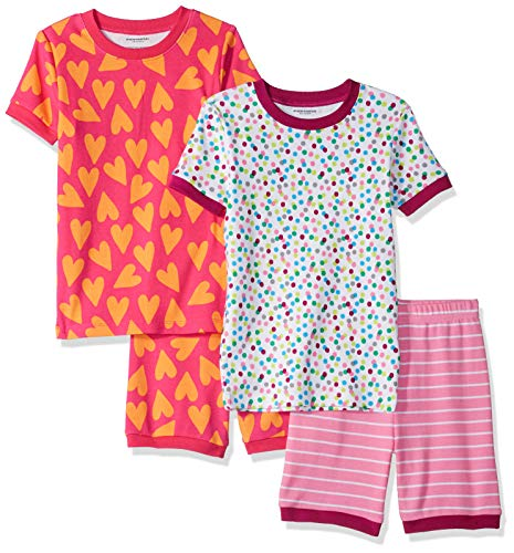 Amazon Essentials Big Girls' 4-Piece Sleeve Short Pajama Set, Hearts and Dots, -