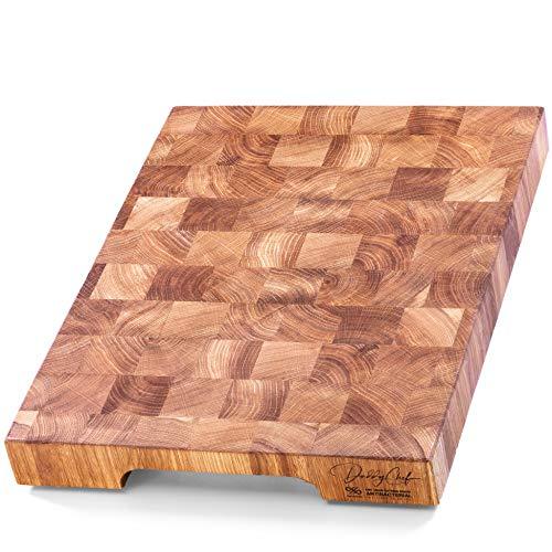 (Daddy Chef End Grain cutting board - chopping board - wood board - cutting boards for kitchen - wooden cutting boards large 16 in x 12 in Oak hardwood cutting board - butcher block wood)