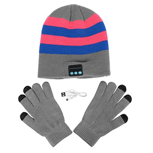 Sizet Soft Warm Beanie Hat Wireless Bluetooth Smart Cap Headset Headphone Speaker Mic Bluetooth Hat (Blue + Pink)