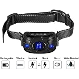 Gshine Rechargeable Dog Anti Barking Training Collar with Three Sensitivity Levels; Beep, Vibration & Harmless Shock, Automatic and Waterproof Dog Barking Controller (Anti-Barking Dog Collar)