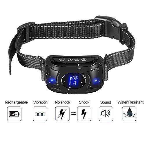 [Newest 2019] Rechargeable Dog Anti Barking Training Collar With Three Sensitivity Levels; Beep, Vibration & Harmless Shock, Automatic and Waterproof Dog Barking Controller (Anti-Barking Dog Collar)