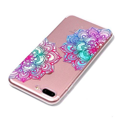 iPhone 8 Plus Hülle Diagonale Blume Premium Handy Tasche Schutz Transparent Schale Für Apple iPhone 8 Plus + Zwei Geschenk
