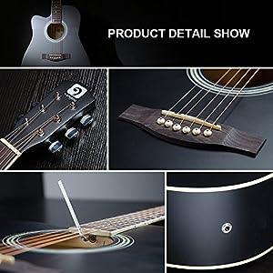 Vangoa - 41 inch Full-Size Black VG-41ECBK Acoustic Electric Cutaway Guitar with Guitar Gig Bag, Strap, Tuner, String, Picks, Capo by Vangoa