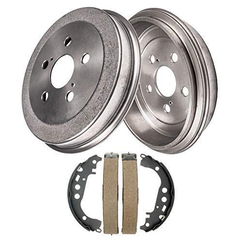 Detroit Axle - Pair (2) Rear Brake Drums w/Ceramic Brake Shoes w/Hardware for 2000 2001 2002 2003 2004 2005 Toyota Celica ()