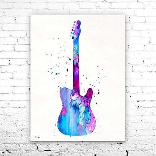Amazon Com Guitar Watercolor Print Guitar Art Music Art