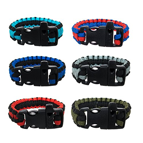 FROG SAC Paracord Bracelets with Emergency Whistle Buckles 6 PCs Pack - Survival Buckle Bracelet Set for Men Boys Women Girls - Camping, Hiking Accessories - Great Party Favors (Two ()