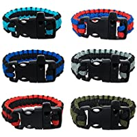 FROG SAC Paracord Bracelets with Emergency Whistle Buckles 6 PCs Pack - Survival Buckle Bracelet Set for Men Boys Women Girls - Camping, Hiking Accessories - Great Party Favors (Two Tone)