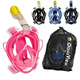 OasisView Full Face Snorkel Mask - 180° Dual Airflow Anti-Fog Snorkeling Mask with Built-in Earplugs and GoPro Camera Mount and Mesh Bag (Pink, Large/XL)