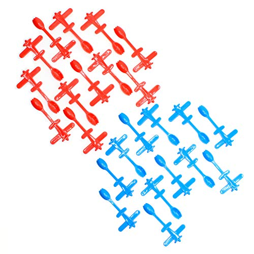 Plastic Airplane Cupcake Toppers with Spoon 3.75 Inches - 25 Pieces - Cute Blue and Red Airplane Cupcake Picks - for Airplane Themed Parties, Birthdays, Decorations, Supplies - by -