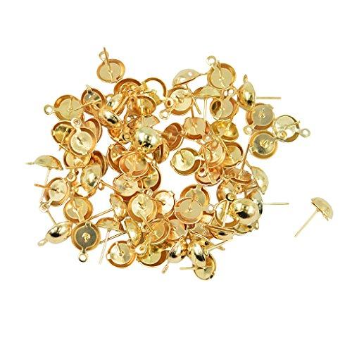 D DOLITY 100 Pieces Metal Steel Ball Stud Earring Pins/Ear Base 8mm for Women Earrings DIY Jewellry Findings Crafts - Light Gold