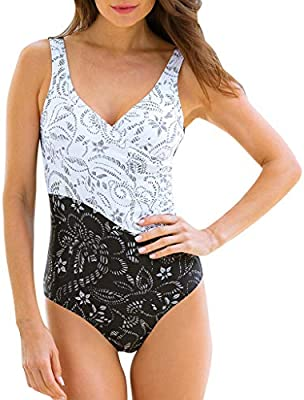 1526e98b38 Remanlly Womens Swimming Costume Padded Swimsuit Monokini Push Up ...