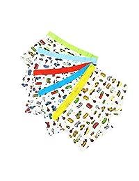 AIEOE Little Boys' Cotton Boxer Briefs Car Comfortable Soft Underwear Set 5 Pack