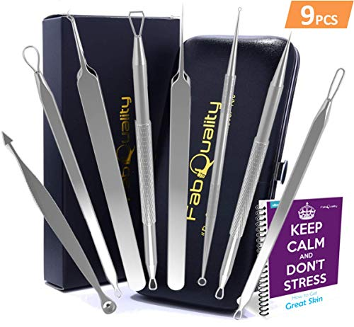 (Special Offer 9pcs Blackhead Remover - Acne Pimple Comedone Extractor - Bonus eBook, Whitehead Removal Tool Kit Set of 9Pcs for Lady Facial Care Skin Protect with Silver)