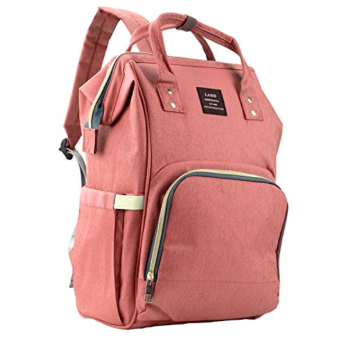 Baby Diaper Bag Large Capacity Mommy Backpack Baby Nappy Tote Bags Multi-Function Travelling Backpack for Mom Travellers Nurses Students (Pink&Orange)
