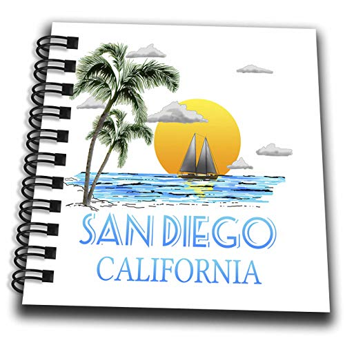 3dRose Macdonald Creative Studios – Nautical - San Diego California Nautical Sailing Design of Boat and Palm Trees. - Mini Notepad 4 x 4 inch (db_299286_3)