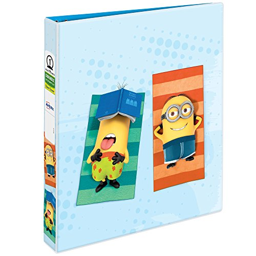 Avery Despicable Me Durable View Binder, 1u0022 Round Rings, 175-Sheet Capacity, Beach Design (28304)