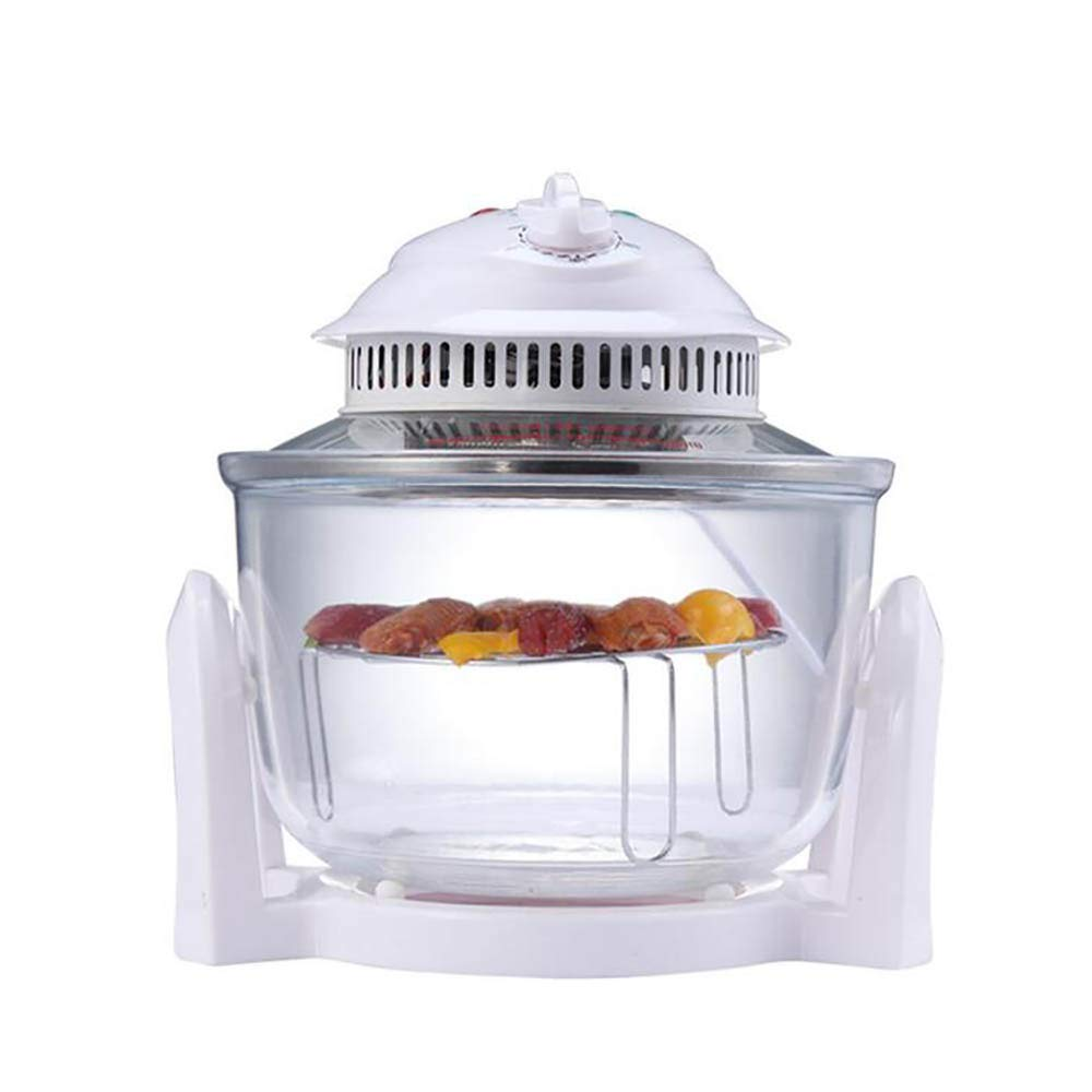 @Mu 1300W Infrared Halogen Convection Turbo Oven with Stainless Steel Extender Ring, 12.68-7 Quart, Cooker Glass Bowl Healthy Low Fat Cooking
