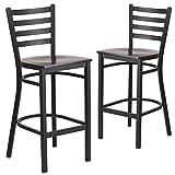 Flash Furniture 2 Pk. HERCULES Series Black Ladder Back Metal Restaurant Barstool – Walnut Wood Seat For Sale