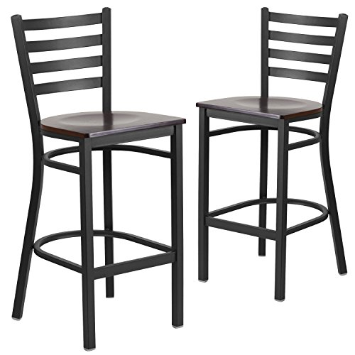 Flash Furniture 2 Pk. HERCULES Series Black Ladder Back Metal Restaurant Barstool - Walnut Wood ()